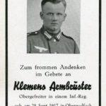 335 gefallener Soldat im Zweiten Weltkrieg Klemens Armbruster
